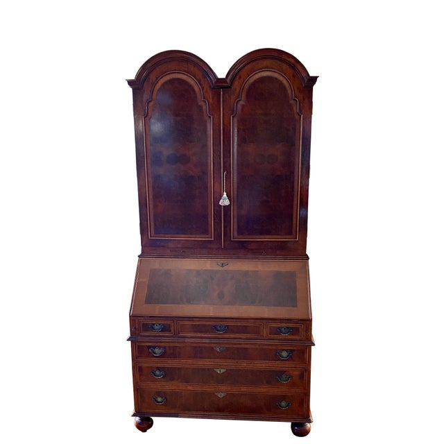 Vintage English Queen Anne Style Walnut Secretary Bookcase For Sale - Image 9 of 9