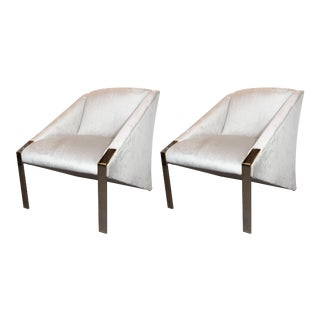 French Mid-Century Modern Lounge Chairs in Platinum Velvet by Andrée Putman - a Pair For Sale