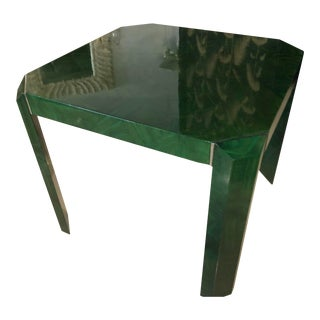 Vintage Hollywood Regency Green Faux Malachite Chrome Dining Game Table For Sale
