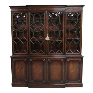 Vintage Maslow Freen Flame Mahogany Breakfront China Cabinet For Sale