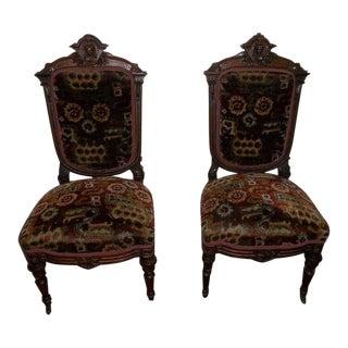 Late 19th Century Vintage Victorian Renaissance Antique Parlor Chairs- A Pair For Sale