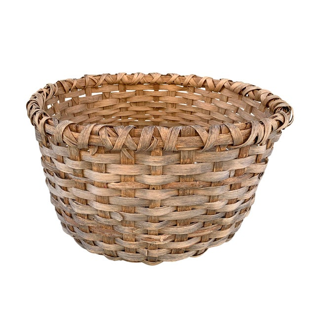 Farmhouse Massive 19th Century Oak Splint Wool Basket For Sale - Image 3 of 13
