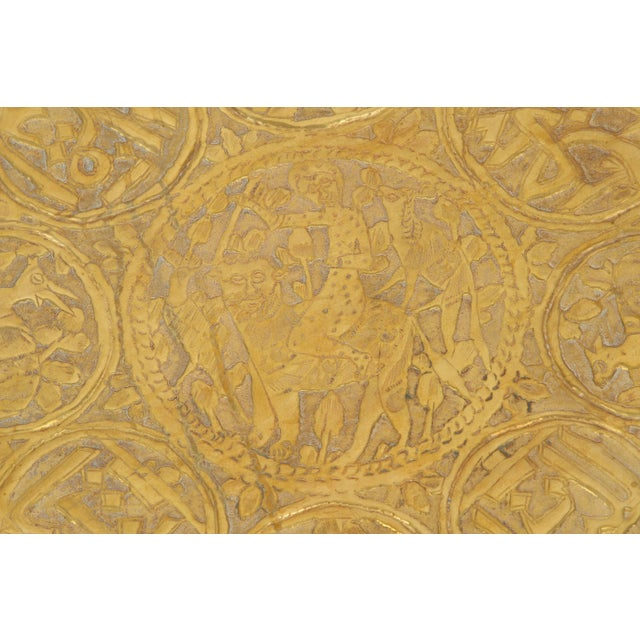 Large hand-crafted decorative Persian brass tray. Embossed and hammered with floral and figural hunting mystique scenes...