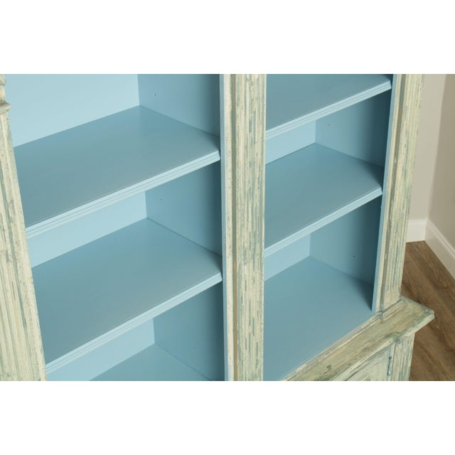 Italian Custom Faux Blue Painted Architectural Bookcase For Sale - Image 10 of 13