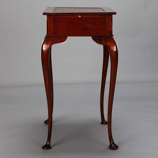 Mahogany Side Table Leather Top and Single Drawer For Sale - Image 4 of 7