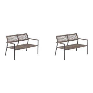 Outdoor Loveseat, Carbon and Mocha, Set of 2 For Sale