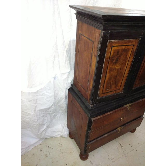 1920s Anglo Indian Ebony and Satinwood Cupboard For Sale - Image 4 of 12