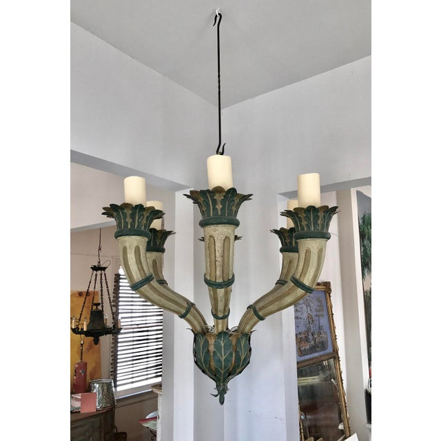 Late 19th Century 19th Century Italian Tole Six-Light Chandelier For Sale - Image 5 of 5