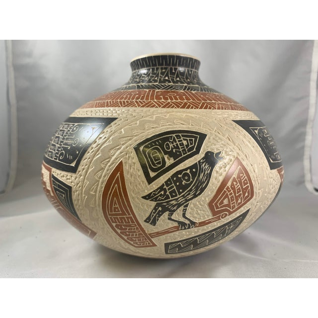 Folk Art Rabbit and Crow Polychrome Vase by Juan Carlos Rodriguez For Sale - Image 3 of 8