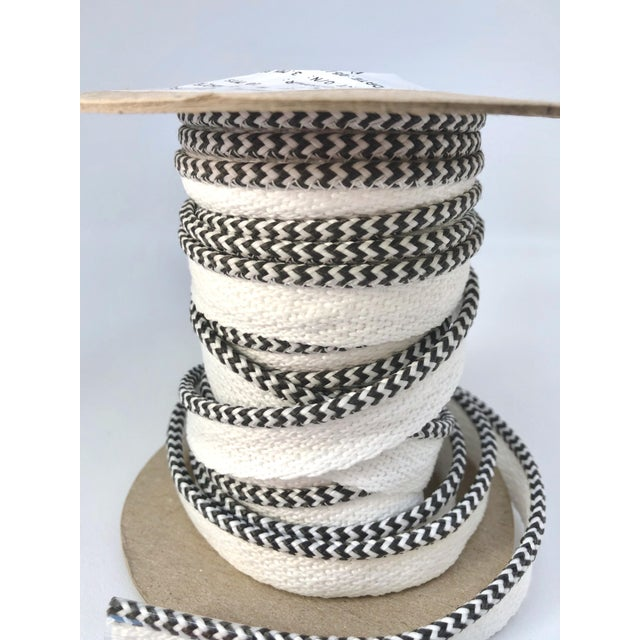"""Contemporary Braided 1/8"""" Indoor-Outdoor Charcoal/White Cord For Sale - Image 3 of 7"""