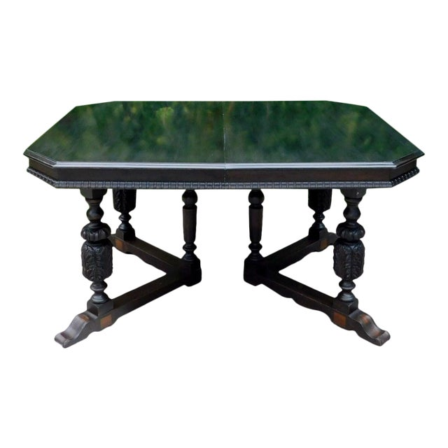 Antique Spanish Revival Carved Dining Table For Sale
