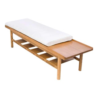 Mid Century Wood Bench by Lawrence Peabody