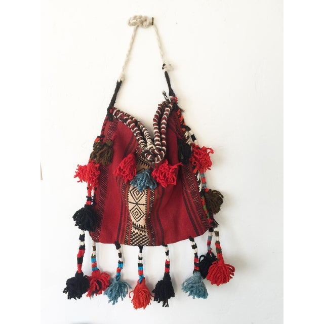 1970s Vintage Ethnic Tasseled Woven Bag Wall Hanging For Sale - Image 5 of 7