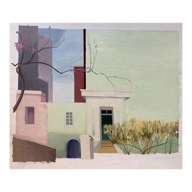 """Celia Reisman """"Henniker Muse Façade"""" Oil Painting, 2000 For Sale"""