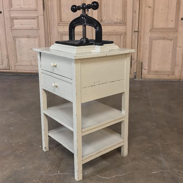White 19th Century Cast Iron Paper Press on Painted Stand For Sale - Image 8 of 11