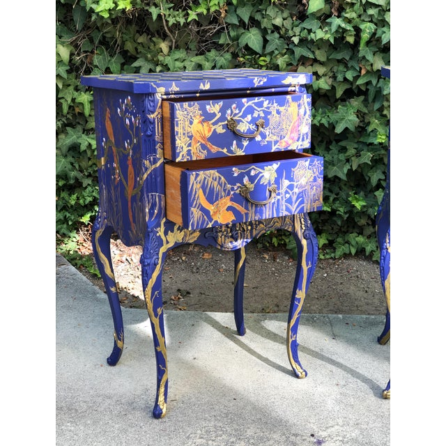 1930s Hand Painted Chinoiserie Nightstands with Birds - a Pair For Sale - Image 12 of 13