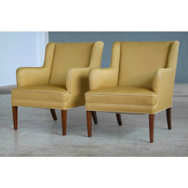 Frits Henningsen Pair of Lounge Chairs Denmark, Circa 1950 For Sale - Image 10 of 13