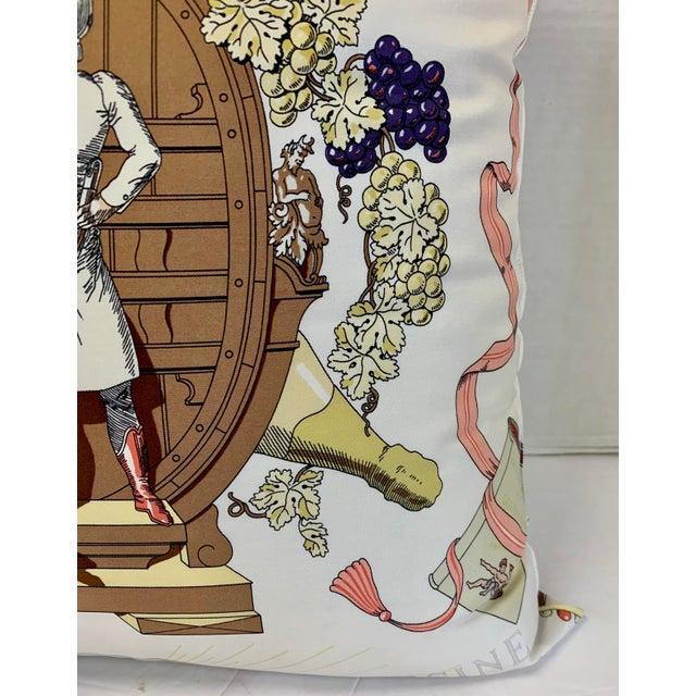 """1980s Hermès of Paris """"A La Gloire De La Cuisine Française"""" Silk Scarf Pillow For Sale - Image 5 of 12"""