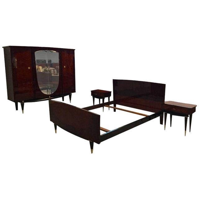 French Art Deco Bedroom Set Bed Nightstands And Armoire Chairish
