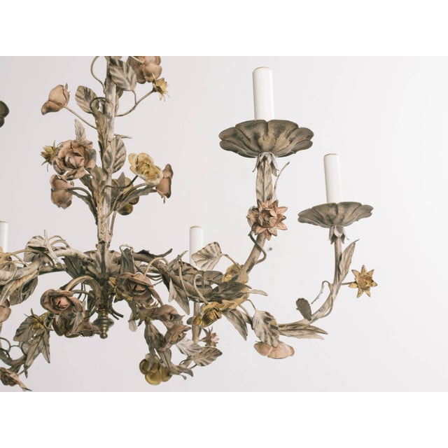 1960s Italian Tole Floral Chandelier For Sale - Image 4 of 9
