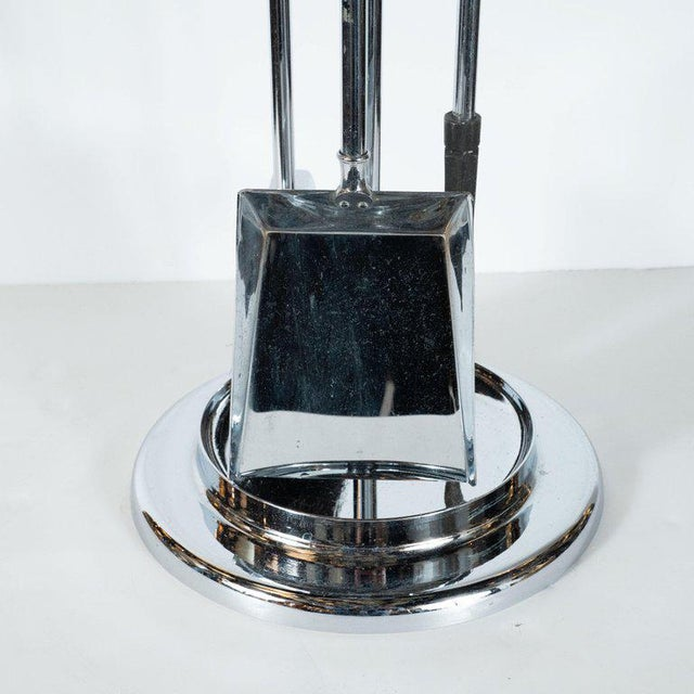 Silver Mid-Century Modern Four-Piece Lucite and Chrome Fire Tool Set For Sale - Image 8 of 9