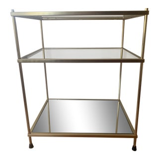 Contemporary CB2 Brass, Glass and Mirror Side Table For Sale