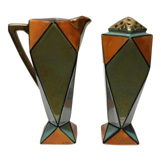 1930s Art Deco Creamer & Muffineer -2 Pc Set For Sale