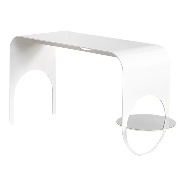 Contemporary White Powder Coated Steel and Polished Steel Shelf Thin Table 2 For Sale