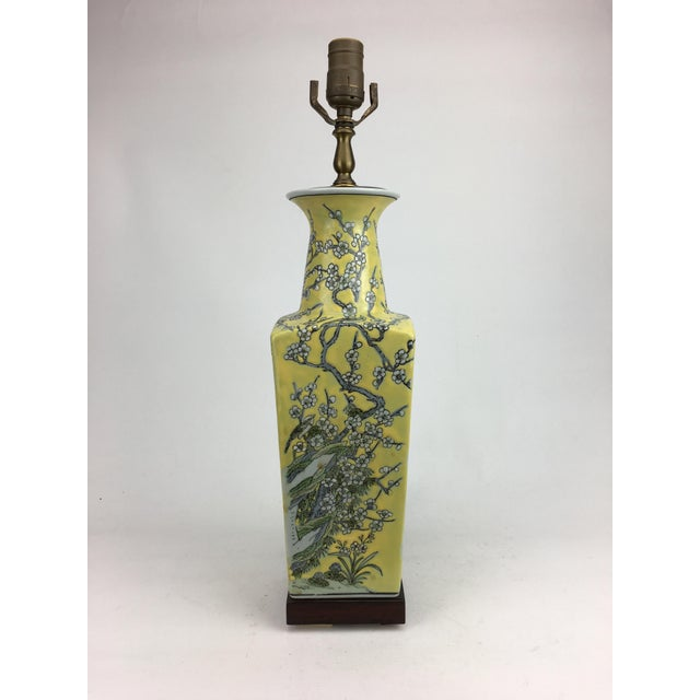 1970s Vintage Peach Blossoms, Branches and Leaves Motif Vase Table Lamp For Sale - Image 5 of 6