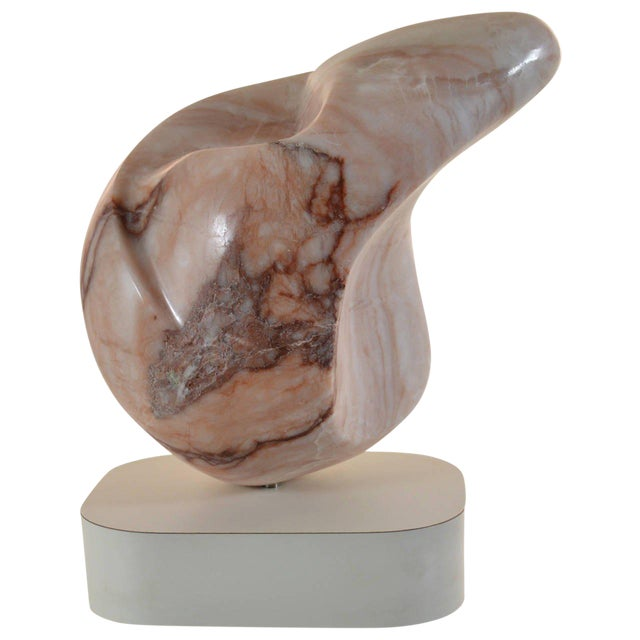 Abstract Marble Sculpture on Custom Base For Sale