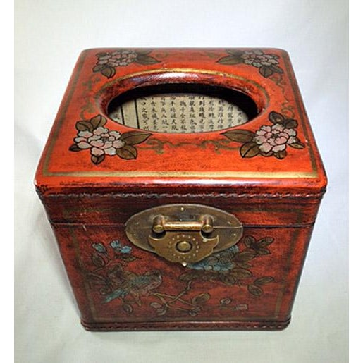Asian Chinoiserie Antiqued Red Wood Tissue Box - Image 3 of 7