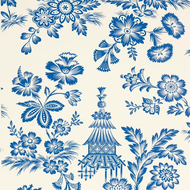 A chic, graphic flower-and-pagoda pattern based on a French 18th-century document, lavishly rescaled and recolored for...