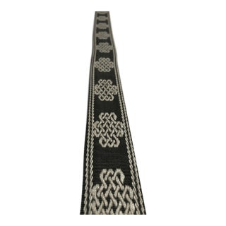 """Transitional Charcoal and White European Key Motif 1.375"""""""" Band Fabric Trim - 17 Yards For Sale"""