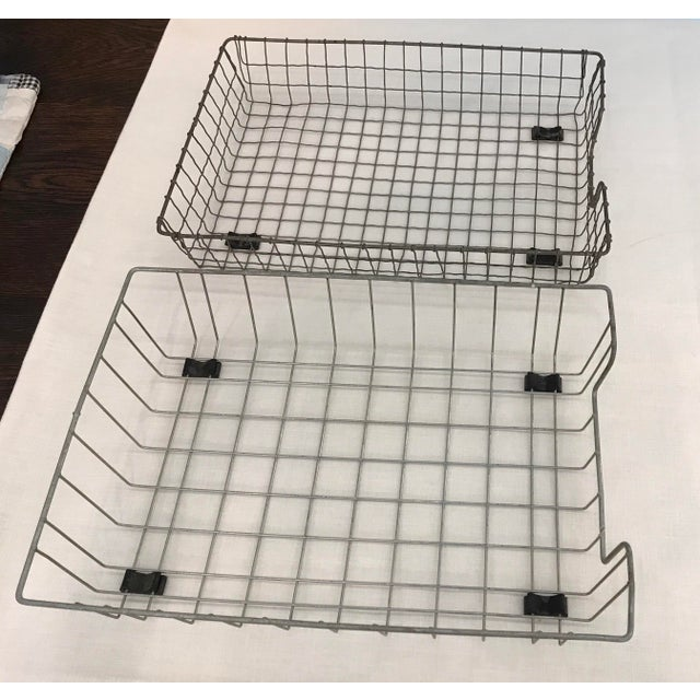 Industrial Vintage Wire File Baskets - A Pair For Sale - Image 3 of 10