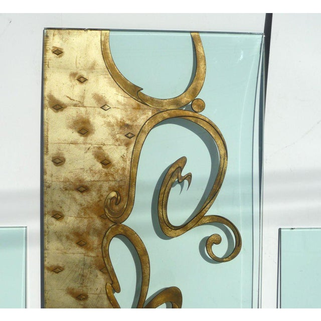 Art Deco Phenomenal Architectural Etched and Gilded Glass Panels For Sale - Image 3 of 11