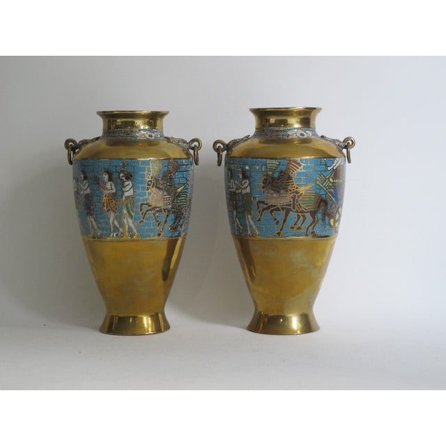 Boho Chic Egyptian Revival Urns - A Pair For Sale - Image 3 of 9