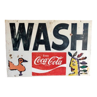 Vintage Coca-Cola Wash Sign Featuring Paco Felici Art Work