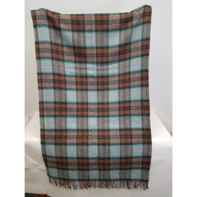 English Wool Throw Red Blue Orange Plaid - Made in England For Sale - Image 3 of 12