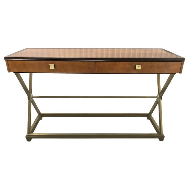 Vintage Hickory-White Burl and Brass Console For Sale - Image 12 of 12