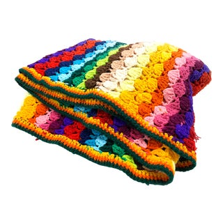 Vintage Hand Crocheted Rainbow Throw Blanket For Sale