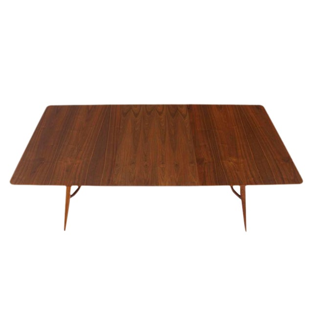 30de99c9696ed Very nice mid-century modern sculptured base dining table with 2 x 12