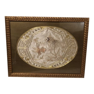 Chinoiserie Fish Gold Embroidery Textile, Framed For Sale