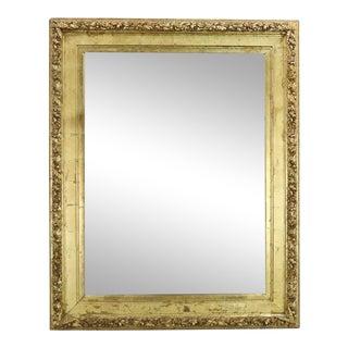 Monumental Antique Gold Leaf Gesso Framed Mirror With Floral Garland Design For Sale