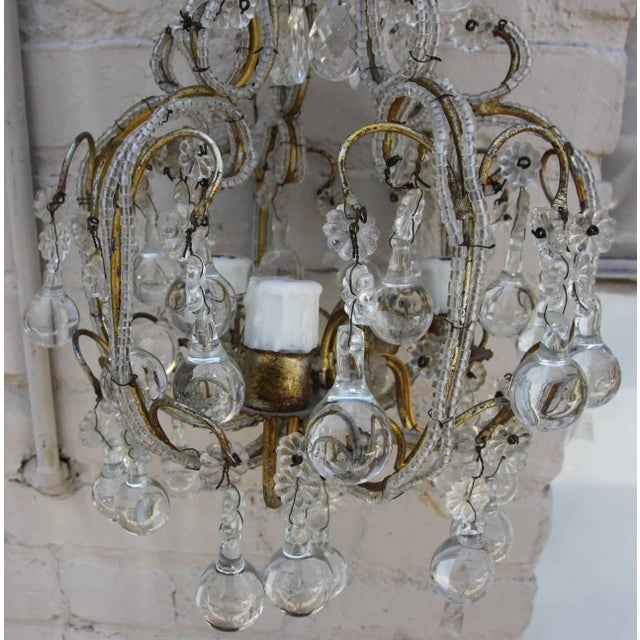 1930s French Crystal Beaded Three-Light Chandelier For Sale - Image 5 of 5