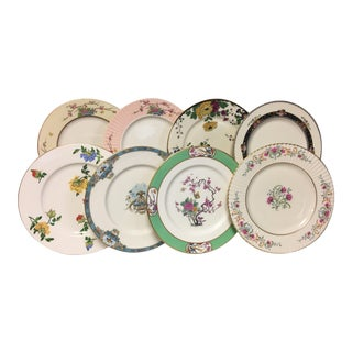 Asian Florals Mixed Dinner Plates Set 8 For Sale
