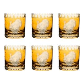 ARTEL Staro Barnyard Turkey Small Tumbler Glass, Set of 6, Amber For Sale