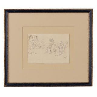 Kate Greenaway Girls Picking Flowers, Drawing, 1891 For Sale