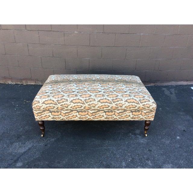 Tan Tan Linen Rectangular Ottoman For Sale - Image 8 of 8