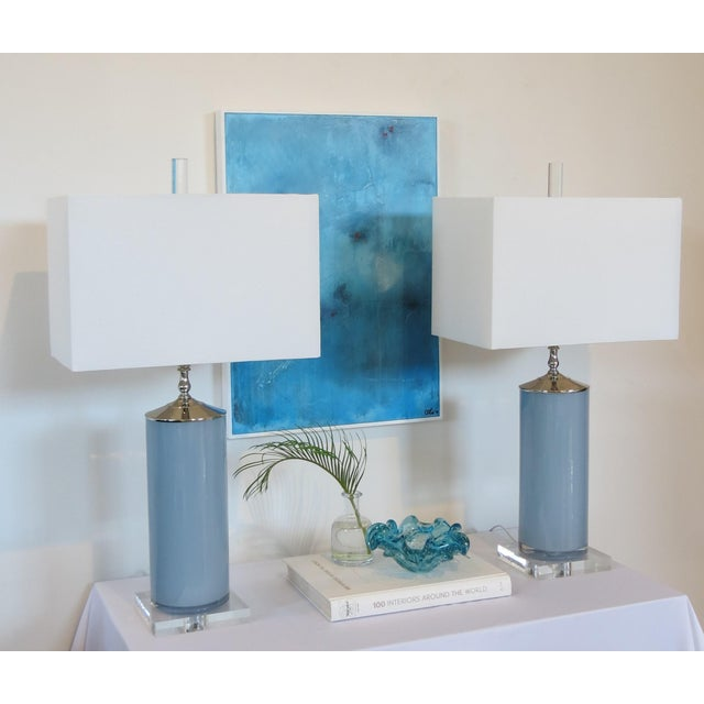 Custom Made Glass Column Lamps in Silver Fox Blue by C. Damien Fox 2018. For Sale - Image 9 of 10