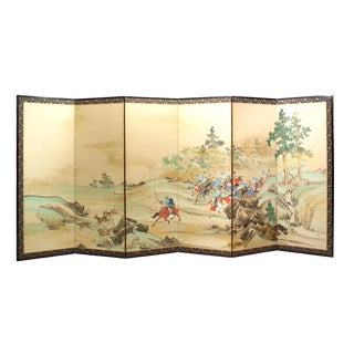 "Lawrence & Scott ""Hunting Scene"" Japanese-Style 6-Panel Ink on Paper Room Divider Screen For Sale"